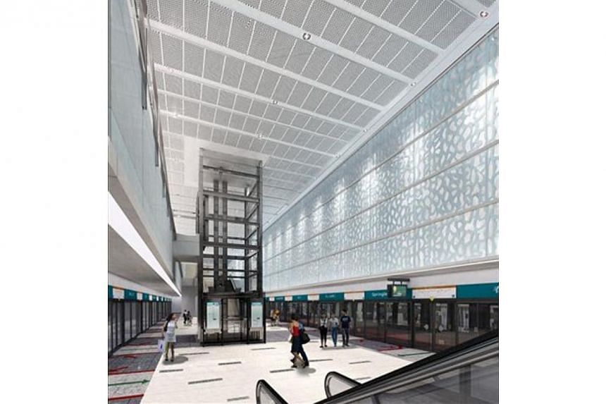An artist's impression of the interior of the new Springleaf Station.About $757 million dollars' worth of contracts has been awarded by the Land Transport Authority (LTA) to two companies, for the construction of two stations for the upcoming T
