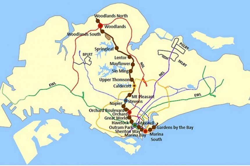 The map of the new Thomson Line.--PHOTO: LAND TRANSPORT AUTHORITY