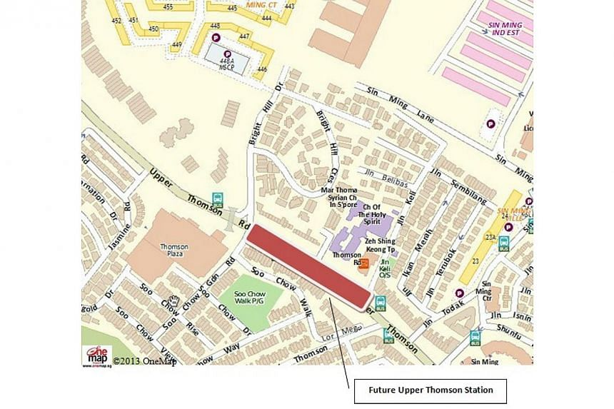 The location map of the newUpper Thomson Station.--PHOTO: LAND TRANSPORT AUTHORITY