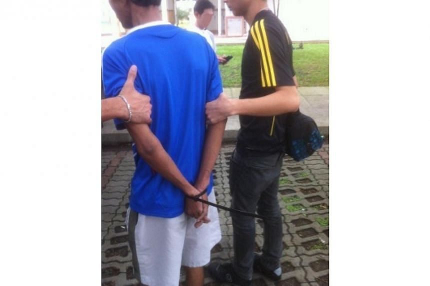 A suspect being arrested by the Central Narcotics Bureau (CNB). An islandwide drug sweep carried out over a four-day period this week saw more than $56,000 worth of drugs seized and netted 86 drug offenders, said the CNB in a statement on Friday, Nov