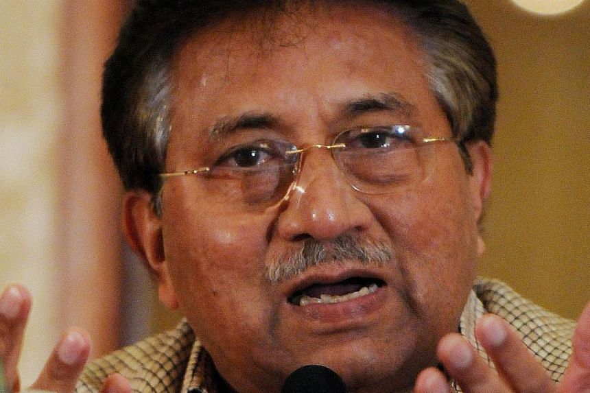 In this photograph taken on March 27, 2013 former Pakistani president Pervez Musharraf speaks to the media during a news conference in Karachi. -- FILE PHOTO: AFP