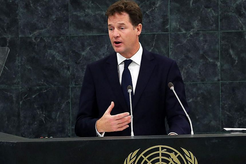 Deputy Prime Minister of the United Kingdom Nick Clegg speaks during the 68th United Nations General Assembly at UN headquarters on Sept 27, 2013, in New York City. Mr Clegg will say on Sunday that workers deserve an immediate income tax cut and call