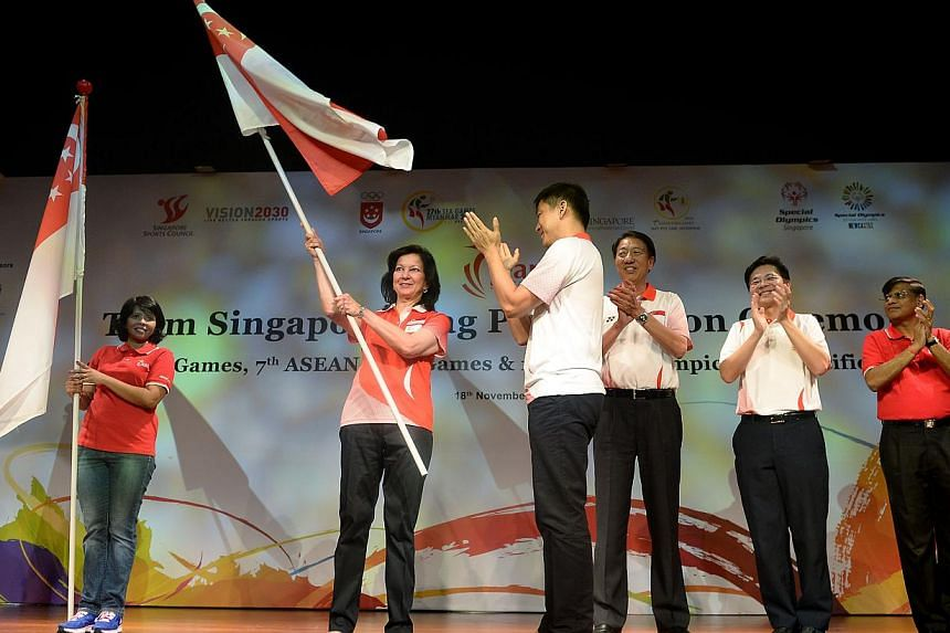 Flag presentation ceremony for Team Singapore Athletes going to the SEA Games, Asean Para Games and first Special Olympics Asian Pacific Games. Singapore will be represented by an all-female trio of flag bearers at the SEA Games and inaugural Special
