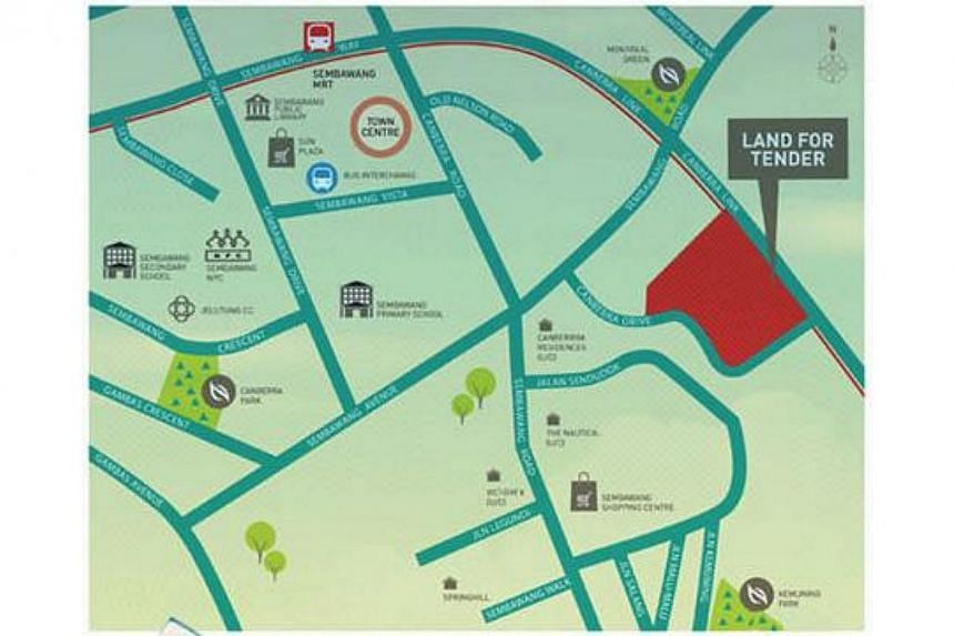 This map shows the land parcel at Canberra Drive, one of the four residential sites put up for sale this month. -- PHOTO: SCREENGRAB FROM HDB.GOV.SG
