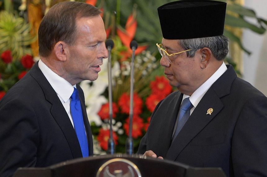 """Indonesian President Susilo Bambang Yudhoyono believes the Australian prime minister's latest statement over reports that Australian spies tapped his phone was """"regrettable"""", his spokesman said, on Tuesday, Nov 19, 2013. -- FILE PHOTO: AFP"""