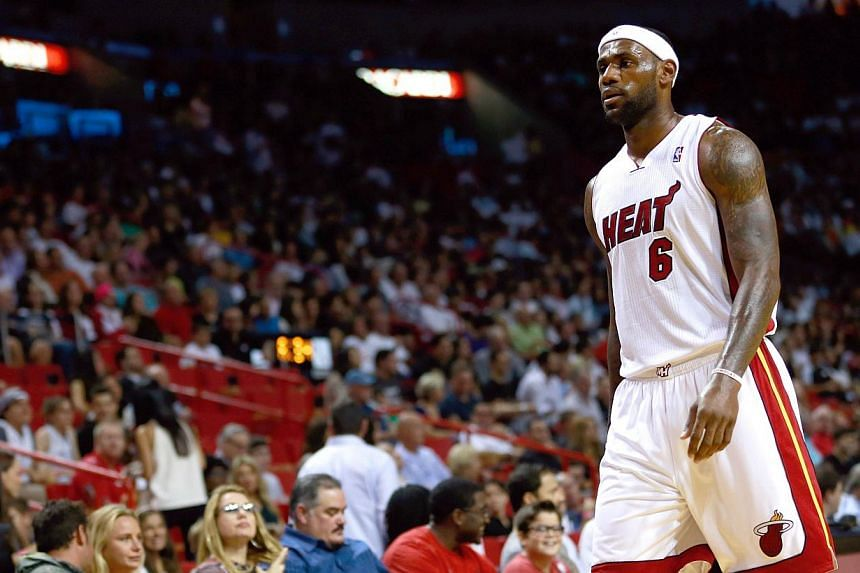 LeBron James #6 of the Miami Heat looks on during the game against the Boston Celtics at American Airlines Arena on Nov 9, 2013 in Miami, Florida.James confirmed on Monday that he is in talks with England football icon David Beckham about inves