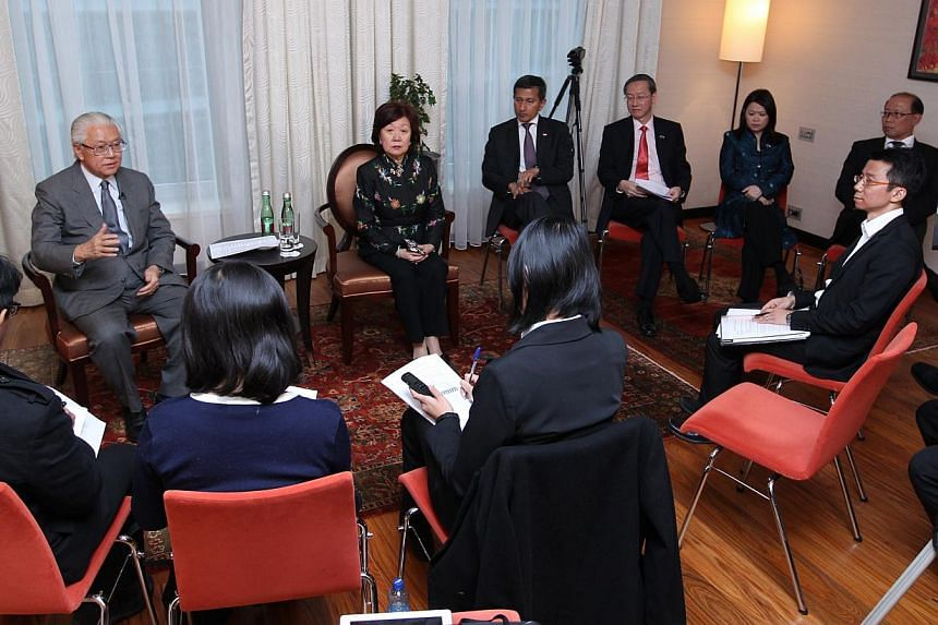 President Tony Tan Keng Yam speaking to reporters in Bratislava, at the end of a seven-day state visit to Hungary and the Slovak Republic. With him are (clockwise from President) non-resident Ambassador to the Slovak Republic Jennie Chua, Minister fo