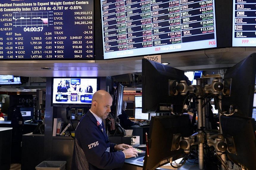 Traders work on the floor of the New York Stock Exchange at the closing bell on Nov 18, 2013.United States (US) stocks hit session lows in late afternoon trade on Monday with the Dow turning negative and the Nasdaq falling more than 1 per cent.