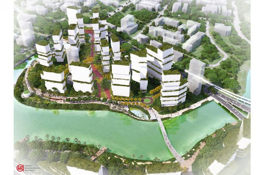 """An artist's impression of the Kampong Bugis precinct. Property consultants warn that while the plans offer """"exciting"""" new proposals for some areas, the difficulty would be in the execution of these plan. -- PHOTO: URBAN REDEVELOPMENT AUTHORITY"""