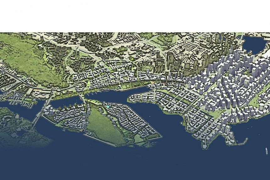 An artist's impression of the Greater Southern Waterfront, avast slice of coastal land that will be freed up once the ports move from Pasir Panjang and Tanjong Pagar to Tuas by 2027. -- PHOTO: URA
