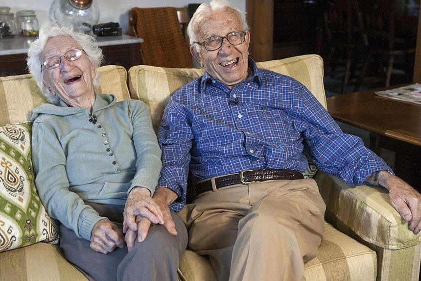 Mr John Betar, 102, and his wife Ann, 98, are seen at their home in Fairfield, Connecticut on Nov 20, 2013. John and Ann eloped on Nov 25, 1932, fleeing their close-knit Syrian neighbourhood in Bridgeport, Connecticut, and driving as fast as they cou