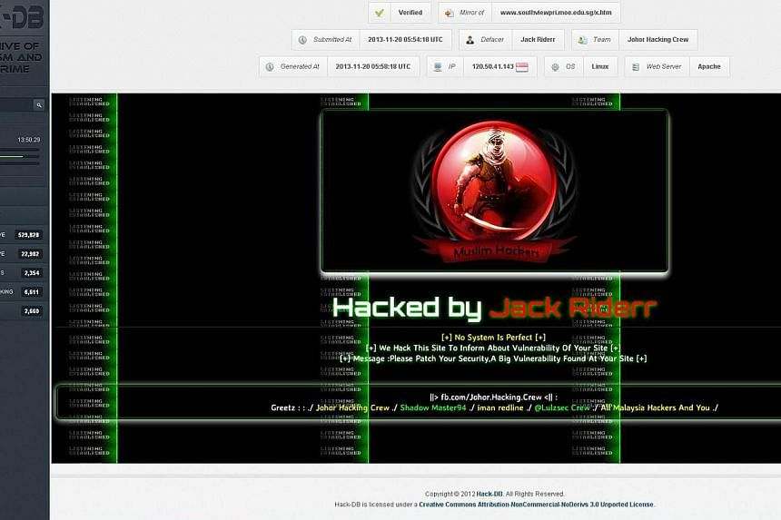 A screenshot taken yesterday of what is believed to be the defaced website of one of the 13 schools affected. The hacker signed off as ''Jack Riderr''. The screenshot was found on an online database of recorded hacking attempts. -- PHOTO: SCREENGRAB