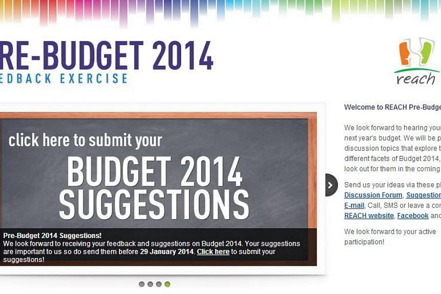 With next year's Budget just three months away, the Finance Ministry (MOF) is asking Singaporeans and businesses for their suggestions on matters relating to taxes and public spending. --PHOTO: SCREENGRAB FROM REACH.GOV.SG