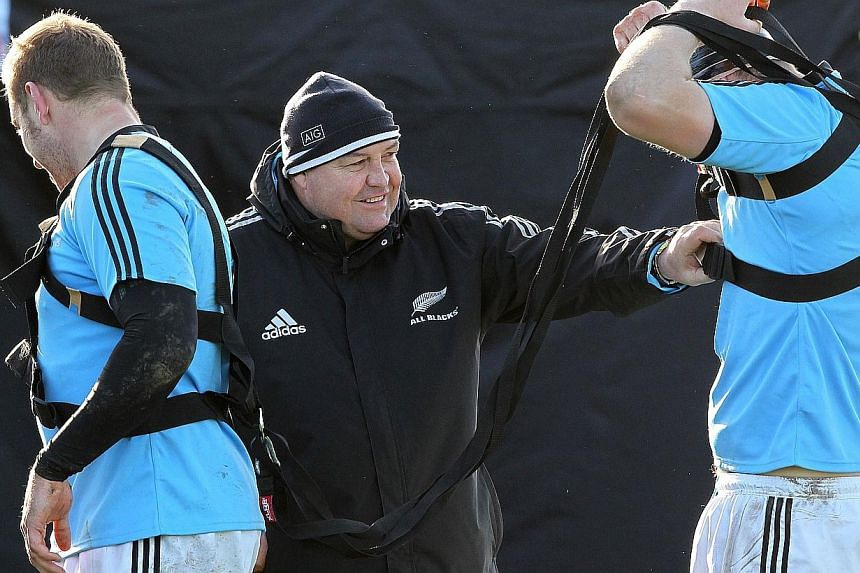 New Zealand rugby union coach New Zealand's coach Steve Hansen (centre) supervises a training session at the Westmanstown Sport and Conference Centre near Dublin, Ireland, on Nov 20, 2013. New Zealand coach Steve Hansen has overhauled his starting li