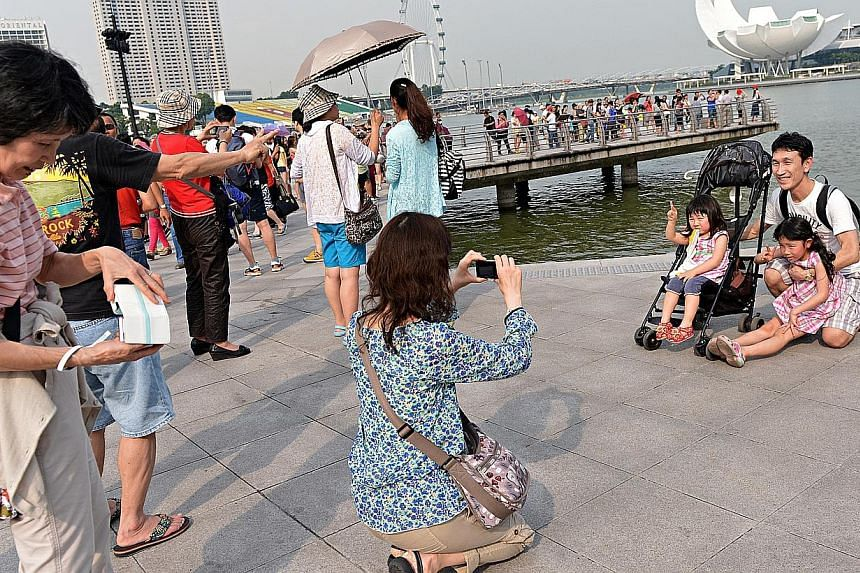 Tourists taking photographs at the Merlion Park. Suspected unlicensed tourist guides will be questioned or even hauled to the police station by enforcement officers, under proposed changes to the law to give the Government more teeth to fight the sco