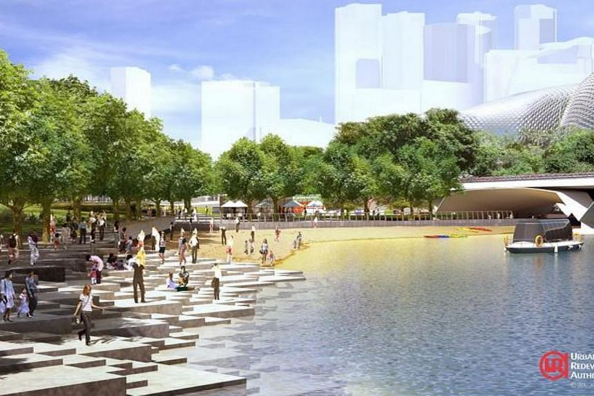 """Artist impression of the spaces for people and events: existing promenade will be """"opened up"""" with steps down to the water's edge and an urban beach. Singaporeans will soon be able to enjoy bigger and livelier public spaces, as part of the Government"""