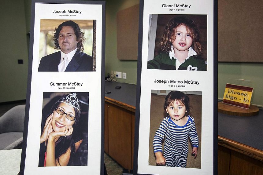 Photos of Joseph and Summer McStay, and their children Gianni and Joseph Mateo who went missing in 2010 from their San Diego home. Skeletal remains found buried in the California desert have been identified as two young sons from a family that vanish