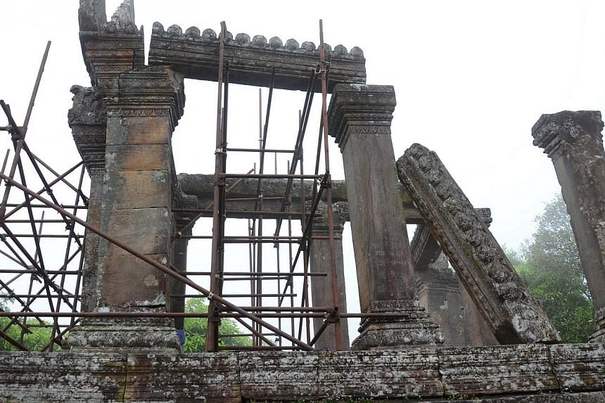 One of the sections in the Preah Vihear temple complex that are in worse condition than others. -- ST PHOTO: TAN HUI YEE
