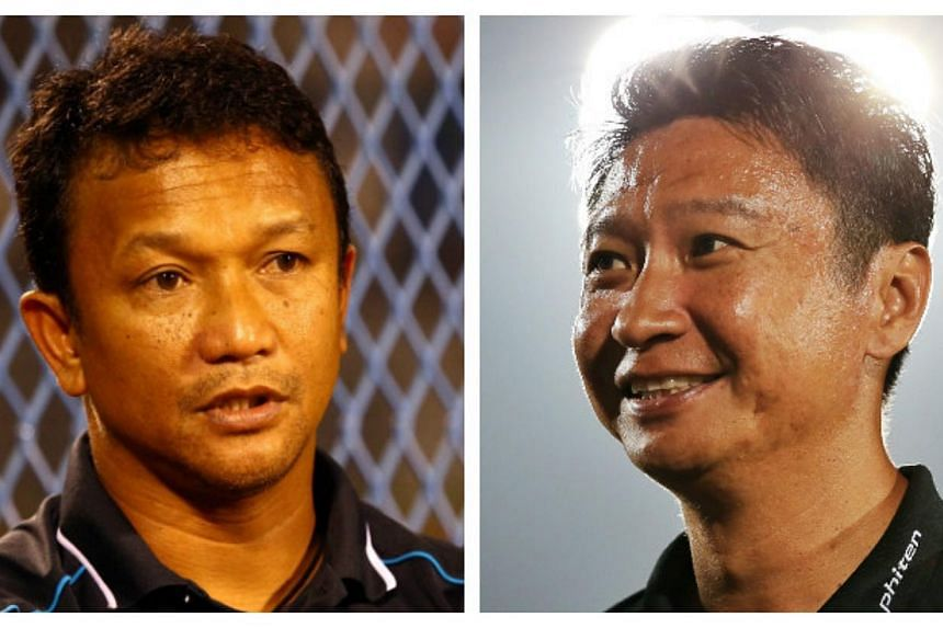 The front runners for the next LionsXII coach are Fandi Ahmad (left) and Richard Bok, as the Football Association of Singapore promises an announcement before the month is out. -- TNP FILE PHOTOS: BENJAMIN SEETOR, GARY GOH
