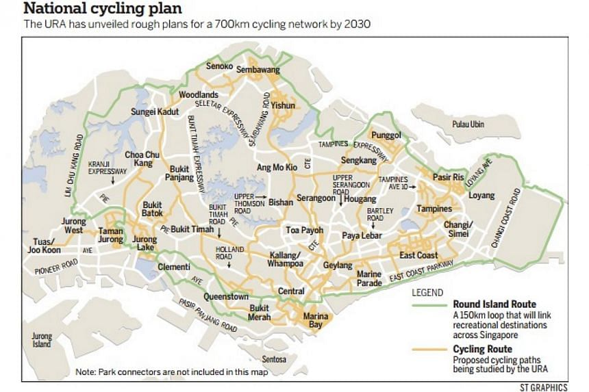 A national push to promote cycling as a viable mode of transport is good news, but encouraging people to commute on a bicycle requires good planning, say transport experts and cyclists. -- PHOTO: ST GRAPHICS
