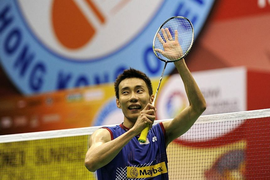 Lee Chong Wei of Malaysia celebrates after winning the men's singles final match against Sony Dwi Kuncoro of Indonesia at the Hong Kong Open badminton tournament on Nov 24, 2013.Lee stormed to victory at the Hong Kong Open on Sunday, outclassin