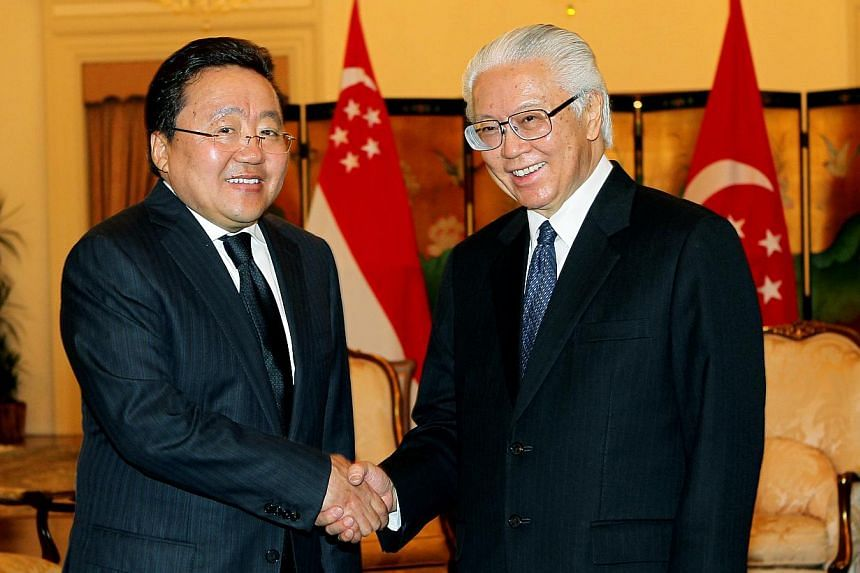 Mongolia's President Tsakhia Elbegdorj (left), who is in Singapore for a State Visit from Nov 24 to 27, 2013, meets Singapore's President Tony Tan. Dr Tan expressed a warm welcome to Mr Elbegdorj and gave the assurance that Singapore would continue t