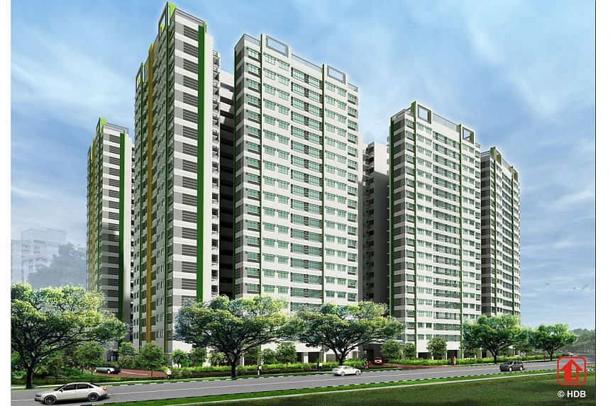 Artist's impression ofYung Kuang Court. The Housing Development Board (HDB) announced the launch of 8,952 flats for sale on Nov 26, 2013, in the largest joint Build-To-Order and Sale of Balance Flats exercise so far. -- PHOTO: HOUSING DEVELOPME