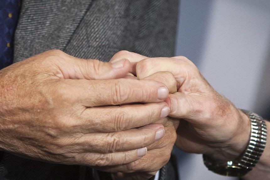 Holocaust survivor Mr Leon Gersten (right) and Mr Czelaw Polziec hold hands as they talk to the media at JFK airport in New York, on Nov 27, 2013. A Jewish boy who hid from the Nazis in a haystack was reunited in New York after 70 years on Wednesday