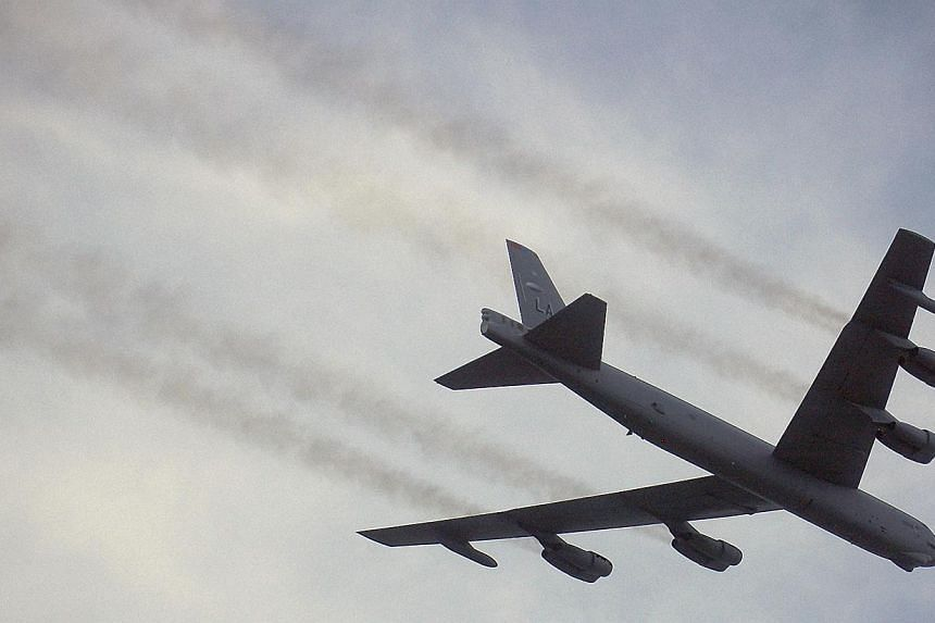 A B-52 passes overhead at the National Security Forum air demonstration at Maxwell Air Force Base, Alabama on May 16, 2007.The United States on Wednesday pressed its concerns over China's newly declared air defense zone, a day after American B-