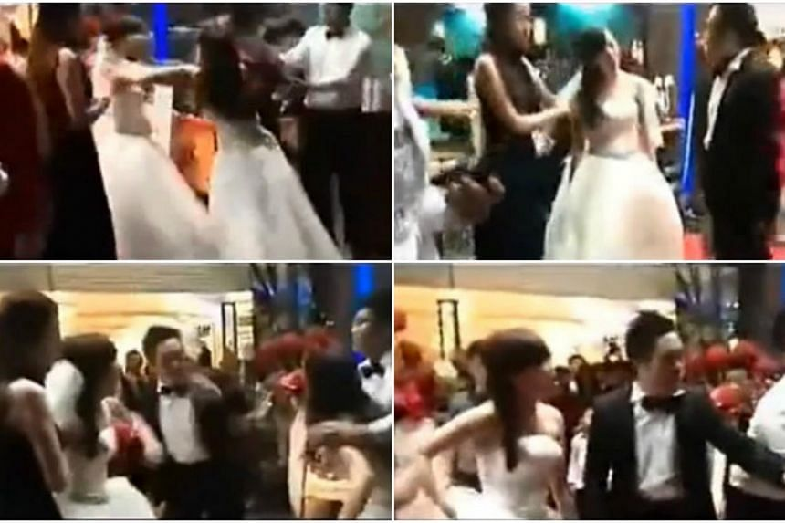 A bride in Shenzhen had a wedding day to remember - or rather to forget, as a second woman burst screaming onto the scene, also in a wedding dress, reported The Nanfang lifestyle portal. -- PHOTOS: YOUTUBE SCREENGRABS