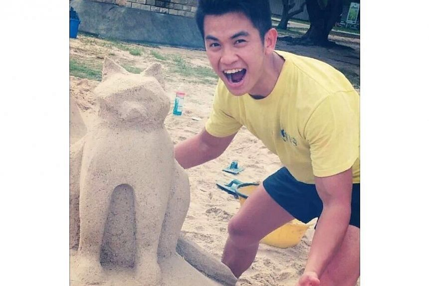 SIM undergrad Goh Chuan Kiet, whose body was recovered more than two days after he disappeared at sea on Sunday. Mr Goh had a part-time job building sand sculptures for events, and loved coming up with new creations. This cat was the last one he made