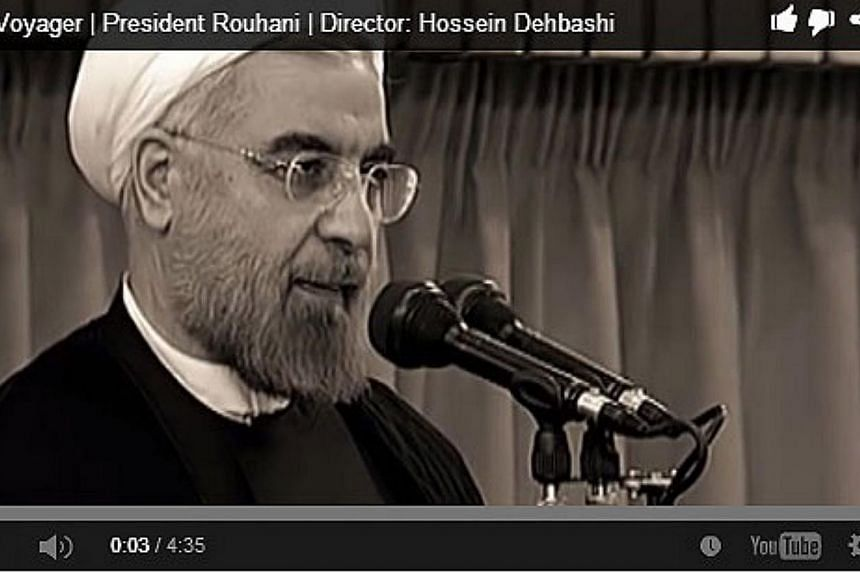 A music video has surfaced on YouTube hailing Iranian President Hassan Rouhani in a similar way to a famed 2008 paean to his United States (US) counterpart Barack Obama. -- SCREENGRAB: YOUTUBE