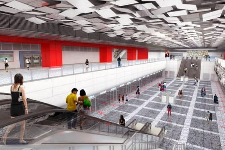 An artist's impression of the interior of the new Woodlands North Station. The Land Transport Authority (LTA) has awarded $526 million worth of contracts for the construction of two stations along the upcoming Thomson Line. -- PHOTO: LAND TRANSP