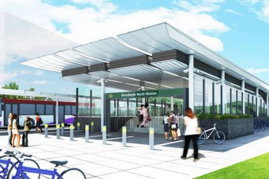 An artist's impression of the entrance of the new Woodlands North Station. -- PHOTO: LAND TRANSPORT AUTHORITY