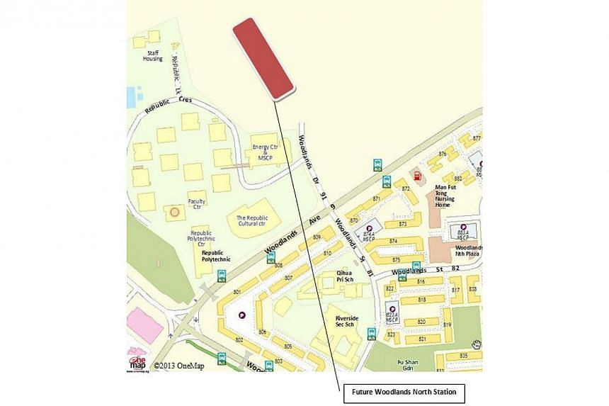 The location map of the new Woodlands North Station. -- PHOTO: LAND TRANSPORT AUTHORITY