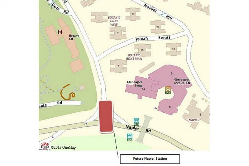 The location map of the new Napier Station. -- PHOTO: LAND TRANSPORT AUTHORITY