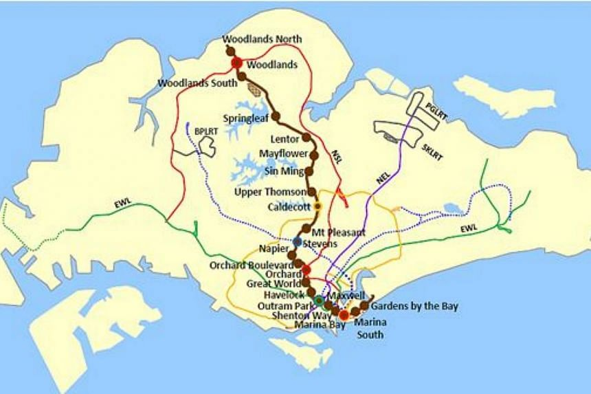 The map of the new Thomson Line. -- PHOTO: LAND TRANSPORT AUTHORITY