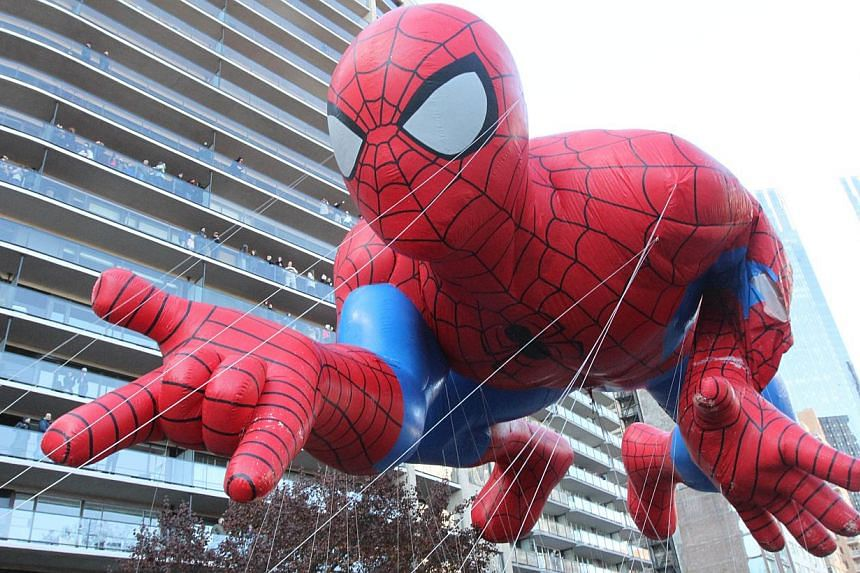 The Spiderman balloon makes it way across New York's Central Park South during the Macy's Thanksgiving Day Parade on Nov 28, 2013. -- PHOTO: AP