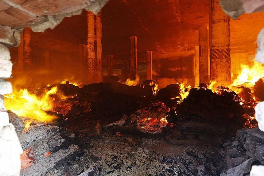 The fire gutted the 10-storey garment factory in Gazipur, on Nov 29, 2013. But there were no initial reports of casualties in Friday's fire.-- PHOTO: REUTERS