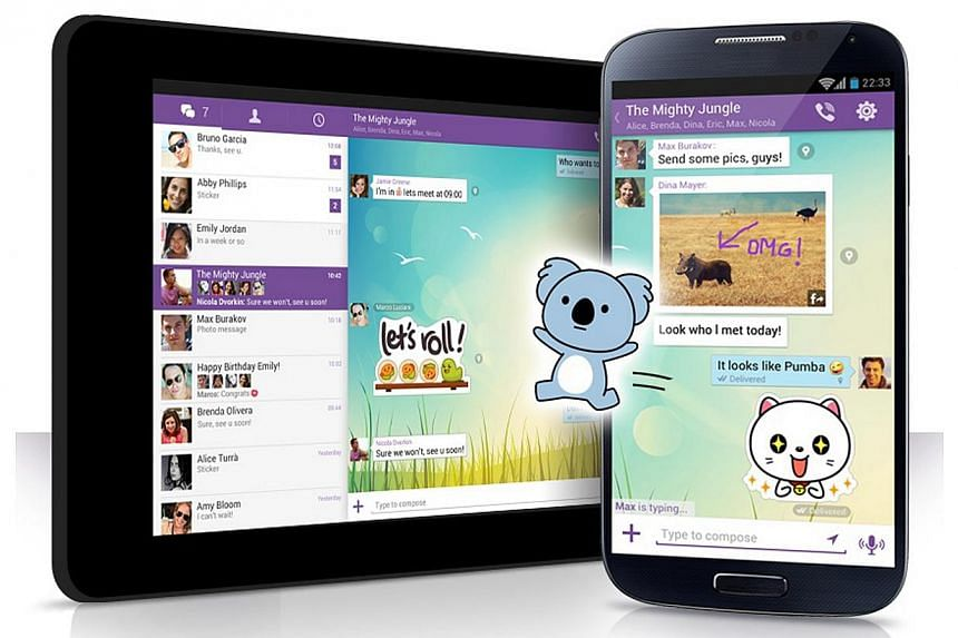 "Screenshot of voice application Viber with the ""stickers"". Prepaid mobile users will soon have more options to chat on their devices with the entry of chat app provider Viber in Singapore. -- PHOTO: VIBER"