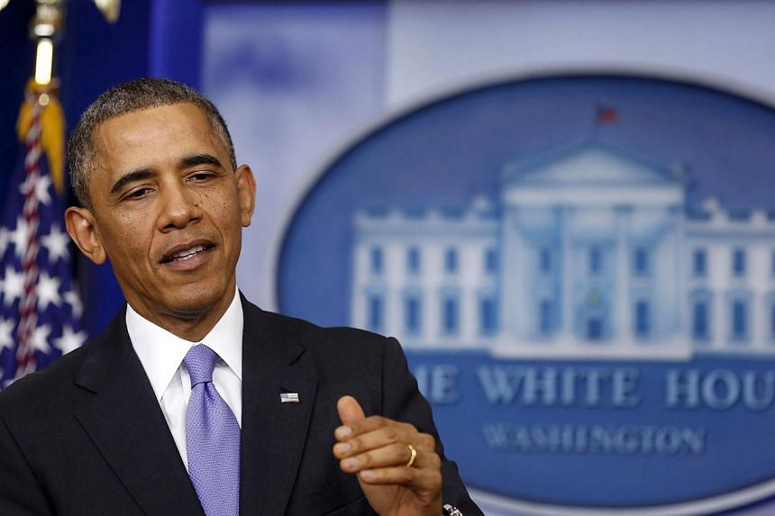 US President Barack Obama talks about the Affordable Care Act in the Brady Press Briefing Room at the White House in Washington, Nov 14, 2013. Mr Obama's popularity has taken a beating over the botched October 1 launch of Obamacare, but in a televisi