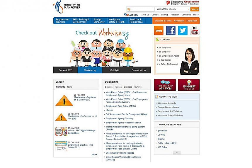A screengrab of the duplicate website MOM discovered on Thursday. It features the same design as the Ministry of Manpower's original official website and the TrustSG trust mark, although not all the links work.