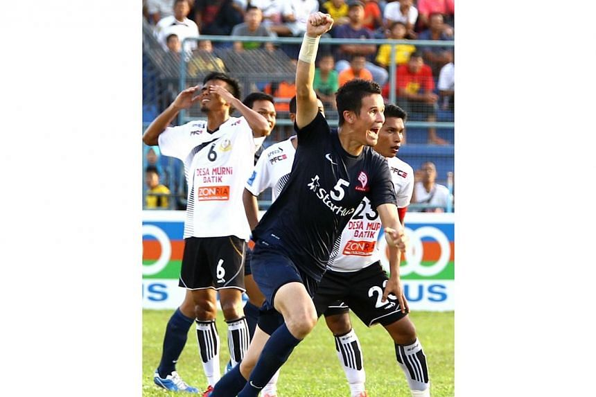 LionsXII defender Baihakki Khaizan celebrates after scoring against Terengganu on May 7, 2013. A stellar year for the 28-year-old was duly rewarded when he picked up the Best Defender accolade at the Football Association of Malaysia (FAM) annual awar
