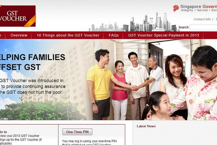 Screen capture of the www.gstvoucher.gov.sgwebsite.Singaporeans eligible for GST vouchers have until Dec 31 to sign up for them, the Ministry of Finance reminded on Monday. -- PHOTO: SCREEN CAPTURE FROM WEBSITE