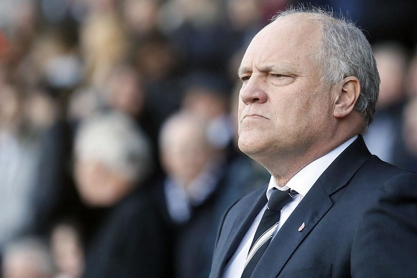 Fulham manager Martin Jol of the Netherlands reacts during their English Premier League soccer match against Manchester United at Craven Cottage in London on Nov 2, 2013. Premier League strugglers Fulham have sacked manager Jol, the club announced on