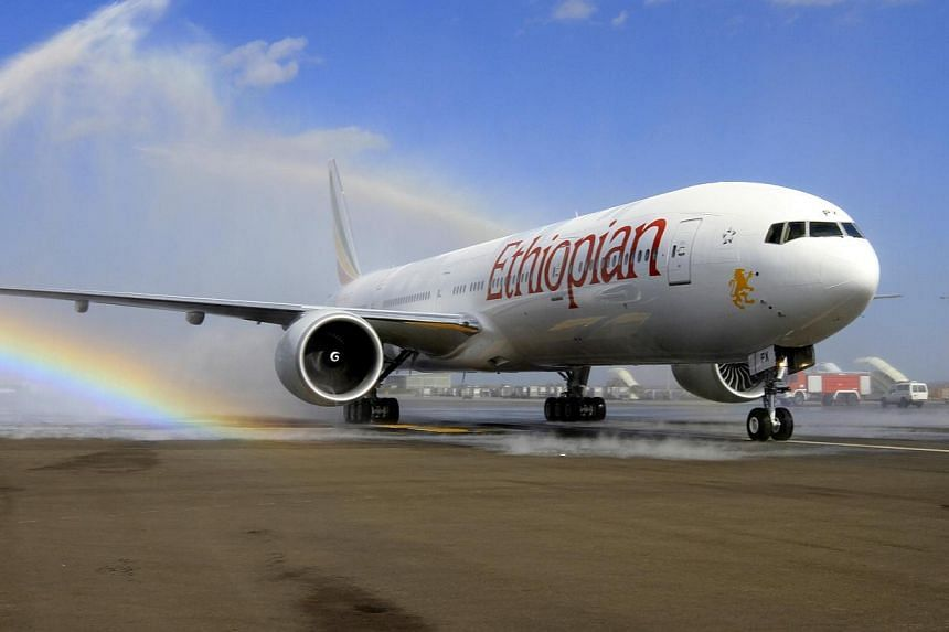 Ethiopian Airlines' newly acquired Boeing 777-300ER aircraft, with a seating capacity of 400 passengers, arrives at the Bole International Airport in Capital Addis Ababa on Nov 8, 2013. Singapore residents travelling to Africa will now have more