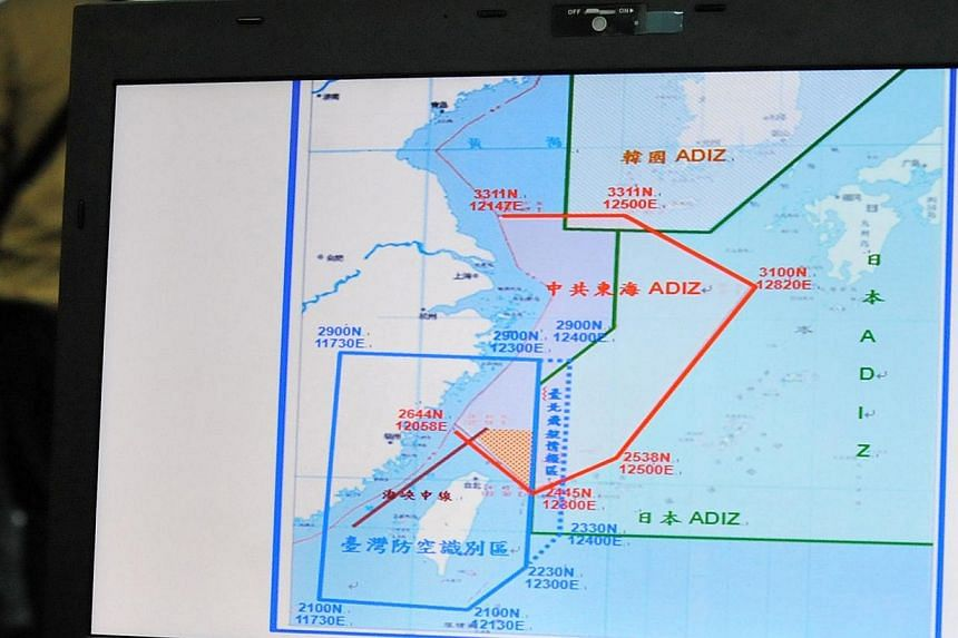 A map of Air Defence Identification Zone (Adiz) in the East China Sea is displayed during a press conference in Taipei on Dec 2, 2013.The United States on Monday urged Beijing to scrap new aviation arrangements set up by its new air defense zon