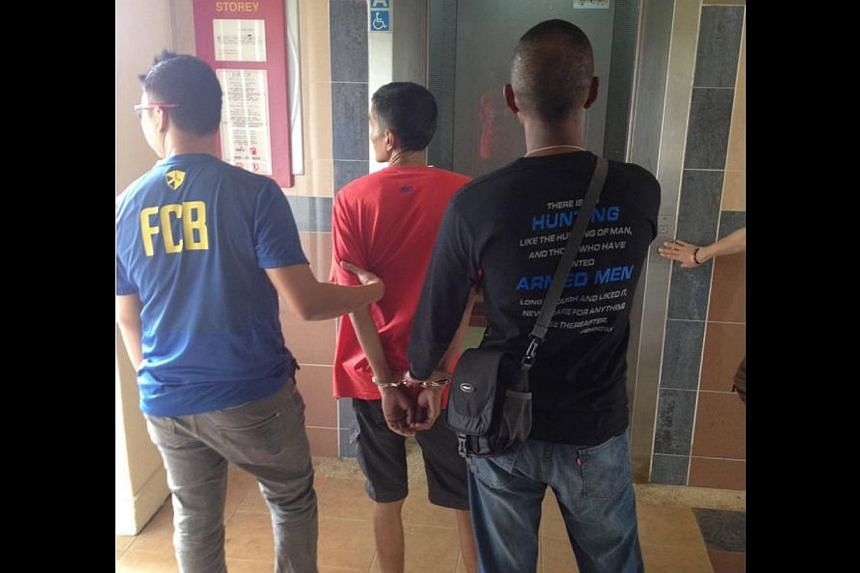 Eleven suspects were nabbed for drug-related offences in a 12-hour joint enforcement operation which began on Tuesday morning, Dec 3, 2013. -- PHOTO:SINGAPORE POLICE FORCE