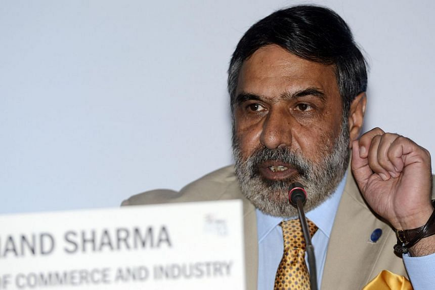 India's Minister for Commerce and Investment Shri Anand Sharma talks to jounalists during a press conference on the World Trade Organisation (WTO) conference in Nusa Dua, on Indonesian resort island of Bali, on Dec 5, 2013. India on Thursday faced mo