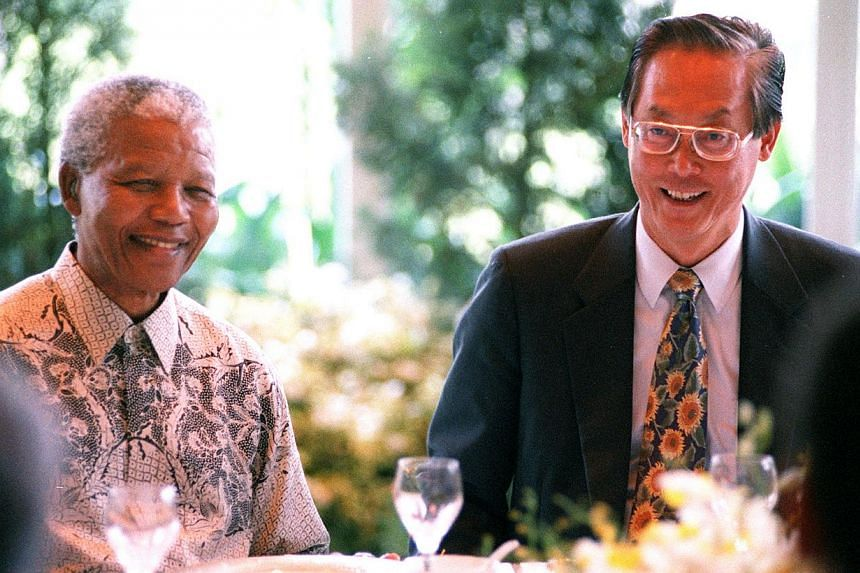 Mr Nelson Mandela, then president of South Africa, at a lunch hosted by Mr Goh Chok Tong, then Singapore prime minister, in 1997. It has been more than 16 years since Mr Mandela set foot in Singapore and left his mark with a hybrid orchid that bears